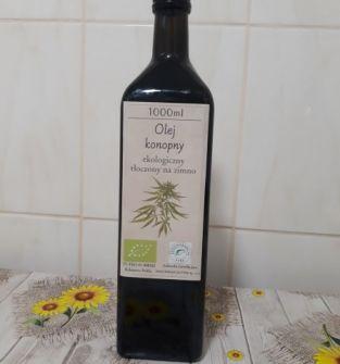 Olej konopny tłoczony na zimno - ekologiczny  certyfikat