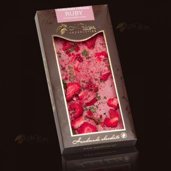 Czekolada różowa RUBY z truskawkami i miętą