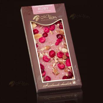 Czekolada różowa RUBY z żurawiną i migdałami