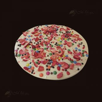 Pizza z lentylkami, truskawkami chrupiącymi herbatnikami